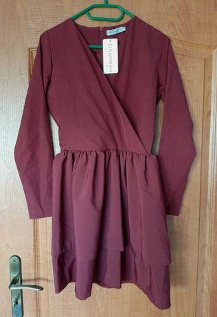 Sukienka bordowa cinamoon xs/s