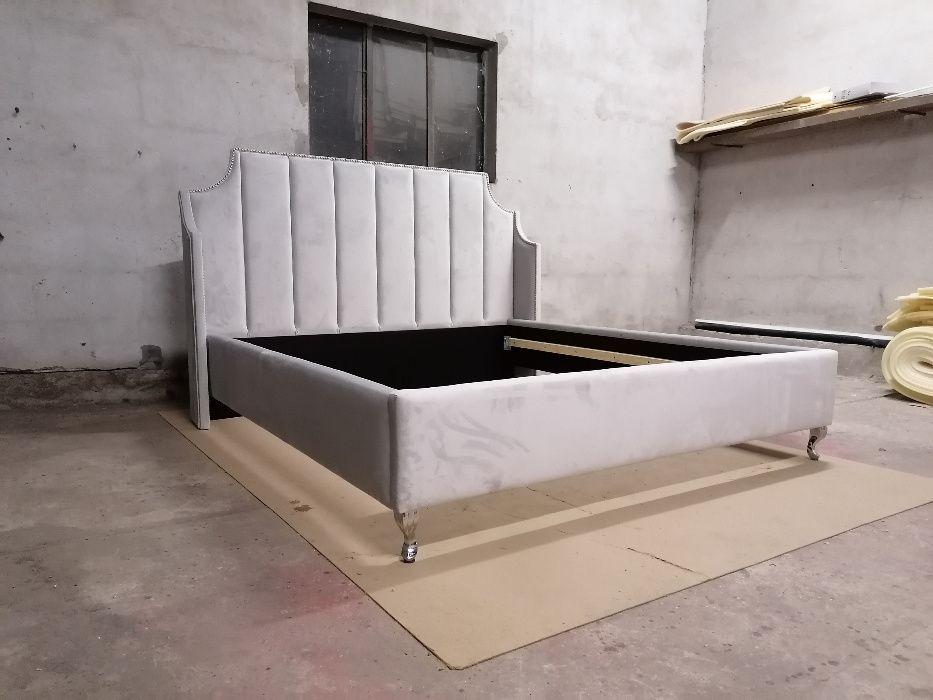 Łóżko panele pinezki sypialnia glamour welur 140/160/180 + stelaż