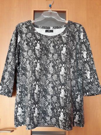 Bluzka czarna - biała, wzór wężowa skóra, rozmiar 42 -44