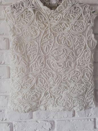 biała bluzka na lato krótki rękaw koronkowa rozmiar S