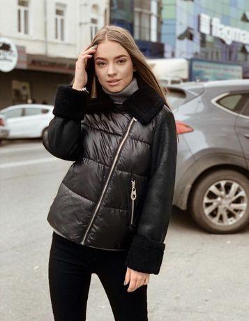 Куртка теплая дубленка зимняя пуховик