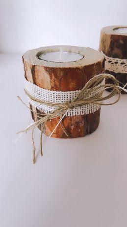 rustykalne świeczniki ślubne dekoracje drewniane świeczniki