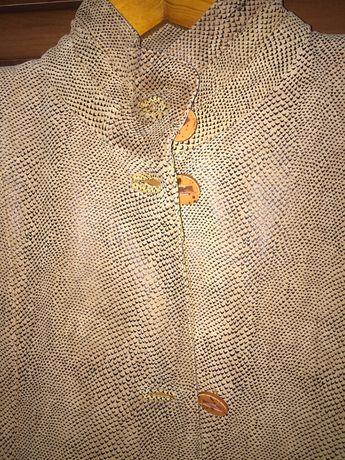 Кожаное фирменное пальто