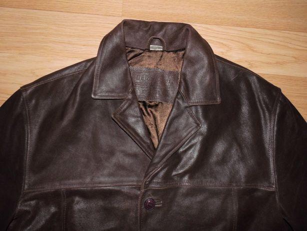 100 % naturalna skóra kurtka płaszcz czekoladowy Brąz