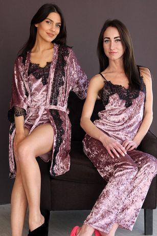 Женская Пижама халат велюровый с кружевом подарок