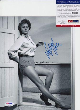 Zdjęcie oryginalny autograf Sophia Loren 8x10 Certyfikat PSA/DNA