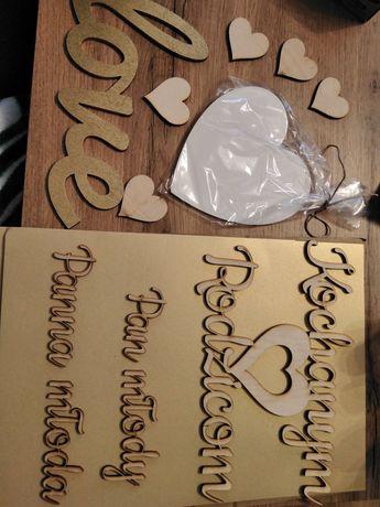 Napisy wesele sklejka paczka