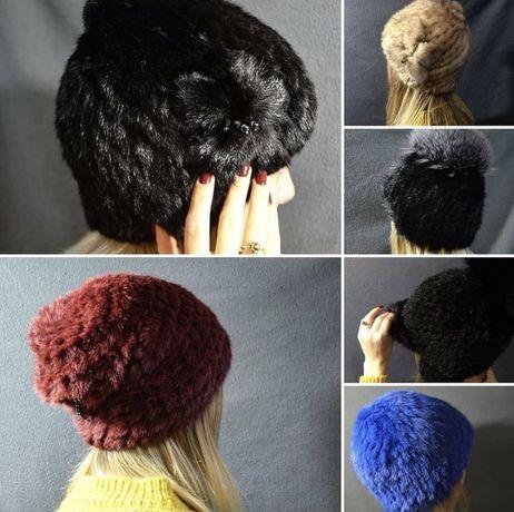 Норковые вязаные шапки
