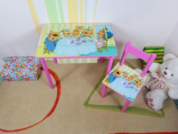 """Детский столик и стул """"Три Кота"""" стол-парта стульчик от 1 до 7 лет"""