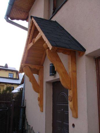 Gont bitumiczny blacha Dach daszek nad drzwi drewniany