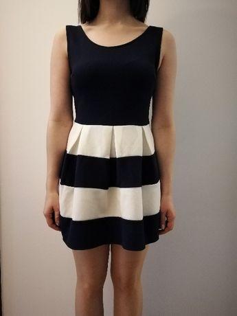Sukienka granatowo- biała rozmiar s