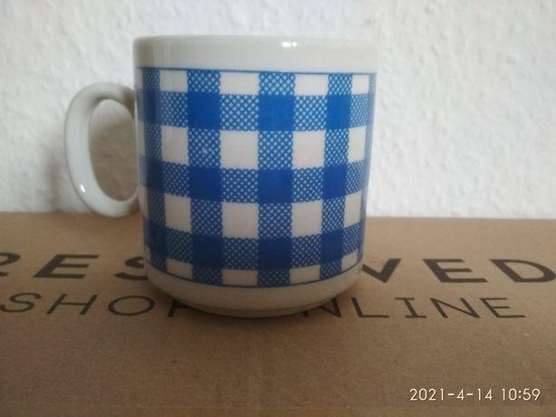 Kubek porcelanowy Bavaria niebieska krata