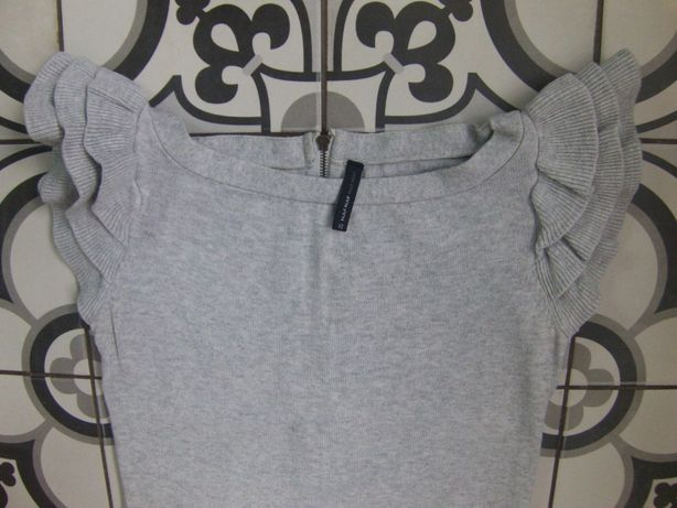 Платье NAF NAF миди вязаное (ангора) теплое (серое) без рукава