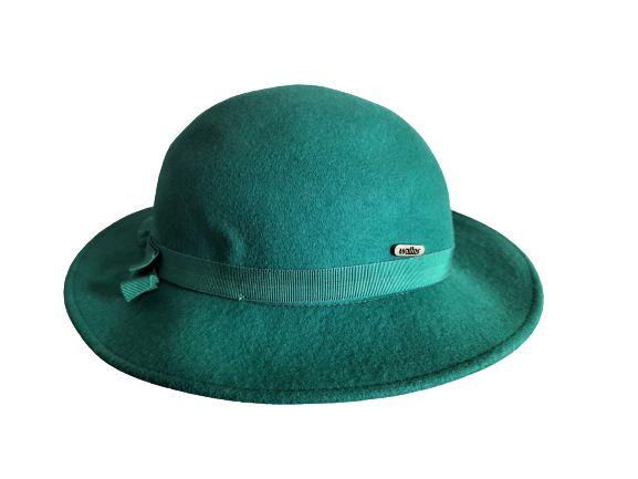 Zielony kapelusz damski, vintage, retro, 100%wełna merynos,merinos