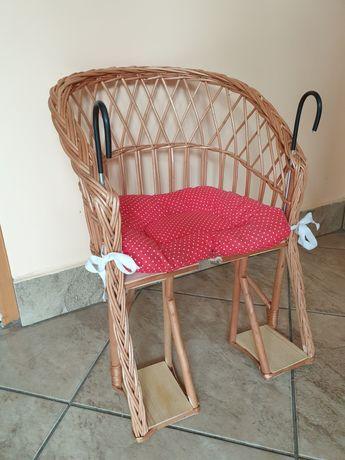 Fotel wiklinowy na rower dla dziecka z poduszką-NOWY nietrafiony preze
