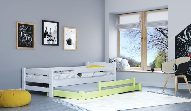Łóżko podwójne DUOmi wysuwane z barierkami dla dzieci