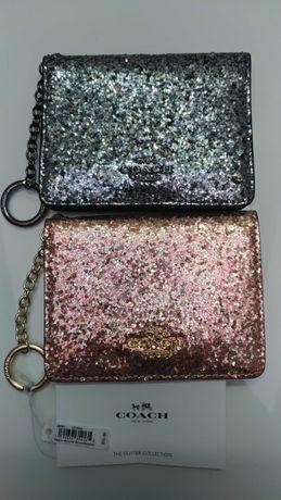 Кошелёк визитница COACH оригинал США Glitter Collection кожа портмоне