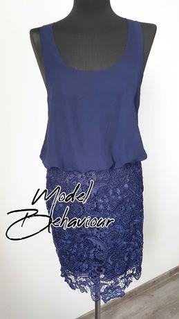 Model Behaviour Granatowa sukienka 38 koronka