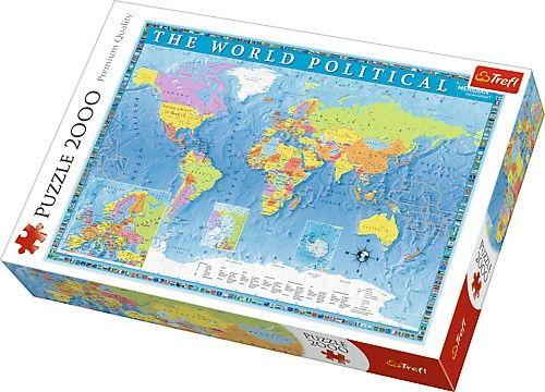 NOWE zafoliowane puzzle 2000 elementów - Mapa świata polityczna
