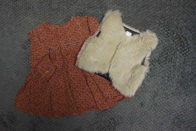 Sukienka z futrzaną kamizelką