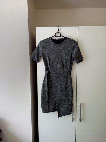 Sukienka mini melanzowa szara boohoo elegancka 34 36 XS s zara