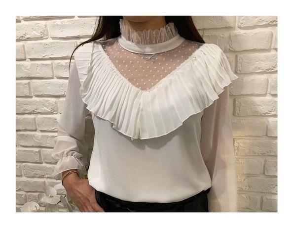 Biała bluzka koszulowa z falbankami Biała koszula z falbanką XS S M L