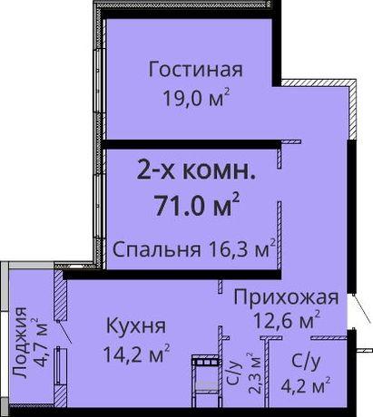 2-комнатная в ЖК Мандарин за 1000уе м2
