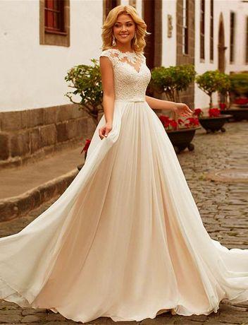 suknia ślubna cywilny szampan wiązanie 42, 44, 46