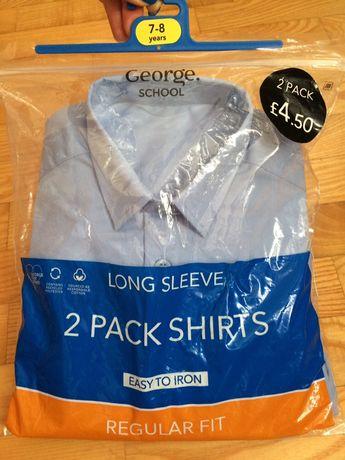 Рубашка с длинным руковом синяя 7-8 лет, 122-128 см George