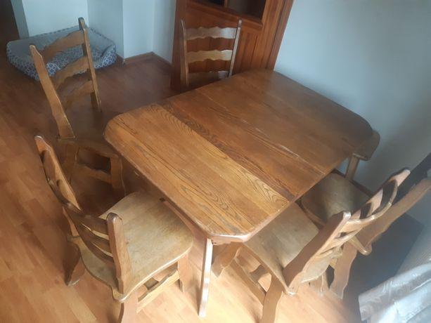 Stół dębowy rozkładany + 5 krzeseł - drewno