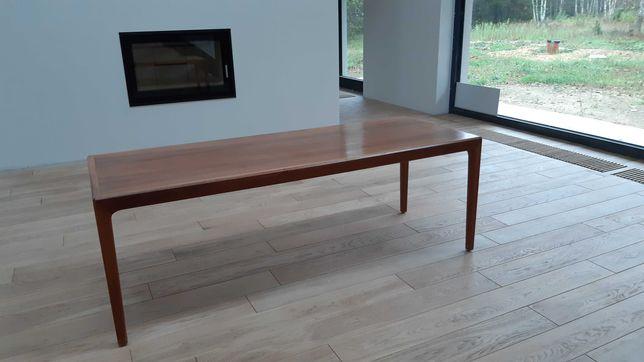 Teak drewniany skandynawski stolik design lata 60 vintage modern retro