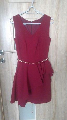 Nowa sukienka 36 34 asymetryczna falbana baskinka bordowa
