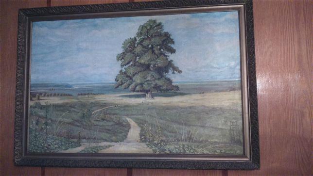 Obraz olejny na płótnie, stara rama 109/74,5 cm