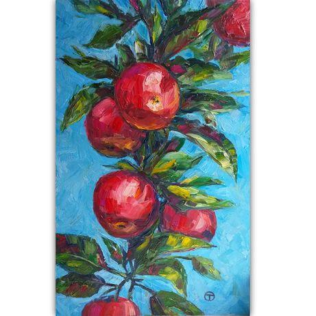 """Картина маслом на оргалите """"Яблочки"""""""