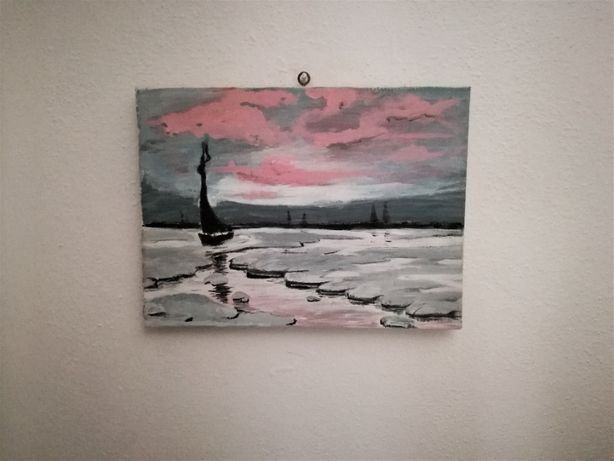 Winter Sunset - quadro pintado à mão
