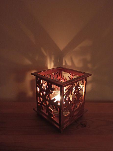 Świecznik świąteczny , metalowy , na prezent