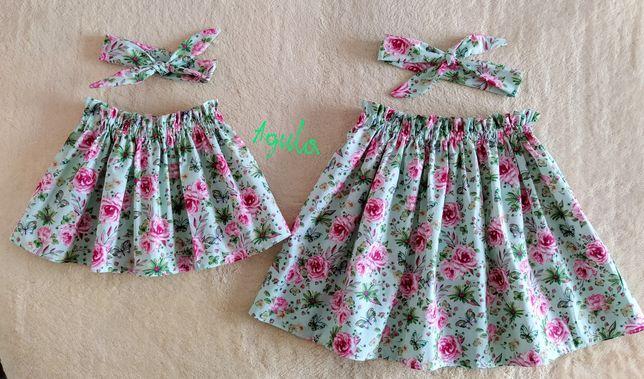 Nowy komplet spódnica i opaska, hand made, siostry, mama-córka, sesja