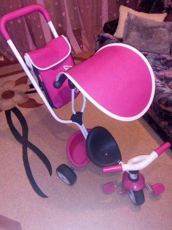 Детский велосипед Smoby с козырьком, багажником и сумкой, розовый