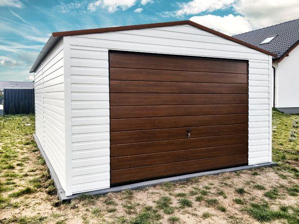 Garaż blaszany 4x6m | biały orzech brąz | Garaże blaszane | Blaszak