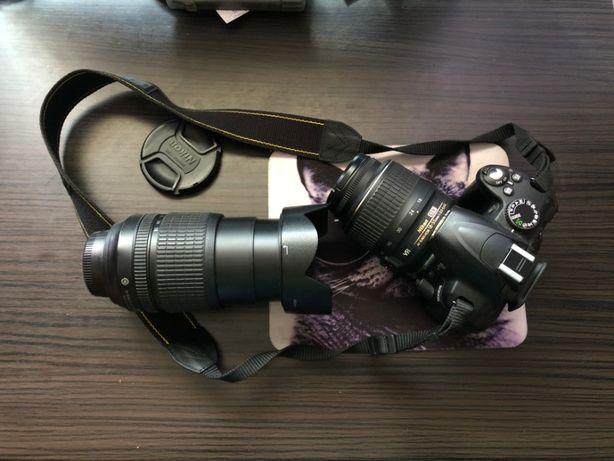Фотоаппарат nikon d3000, 2 объектива, новичкам и профи, ориг. комплект