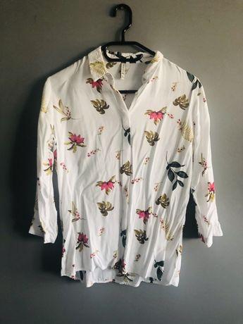 Koszula biała w kwiaty bluzka stradivarius L