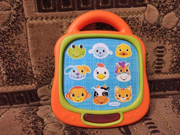 продам музыкальный планшет звуки животных песни infantino