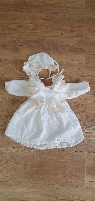 Sukienka do chrztu BOHO dla dziewczynki rozm. 68 Atelie-Roxana