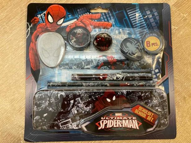 Conjunto Estojo Spider Man (Homem Aranha) com artigos escolares