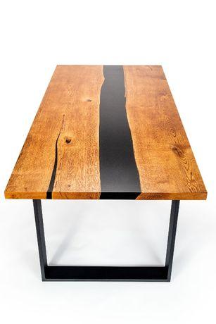 PROMOCJA ! Nowoczesny stół dębowy z żywicą epoksydową