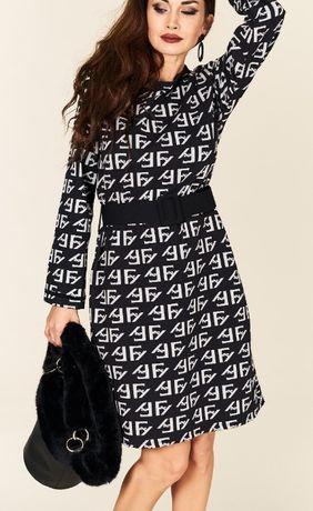 Piękna stylowa włoska sukienka a'la Fendi z paskiem - uni M-XL