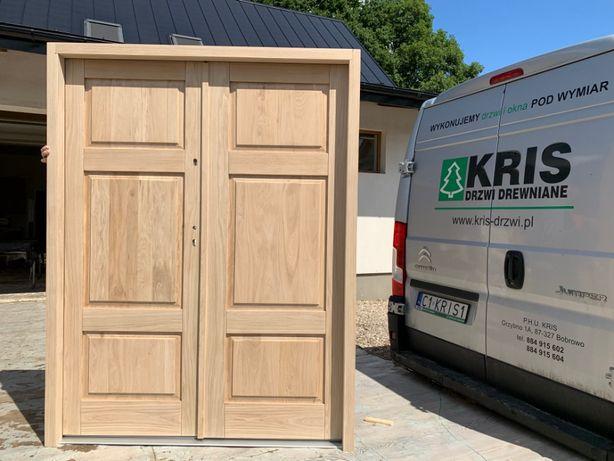 Drzwi zewnętrzne drewniane dębowe dwuskrzydłowe ocieplane 158x206