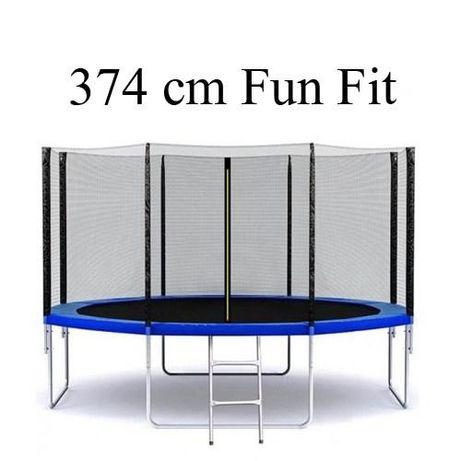 Батут для взрослых fun fit 374 см с сеткой и лестницей