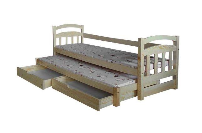 2-os drewniane łóżko dziecięce Antek z szufladami i materacami GRATIS!