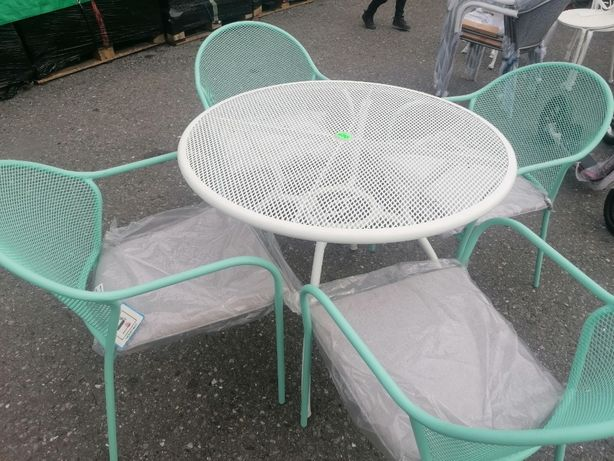 Meble Ogrodowe 4 krzesła Stolik Zestaw Poduszki Białe Pistacjowe